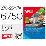 Etiqueta adhesivas Apli 10197 tamaño 17,8x10 mm removible caja 25 hojas