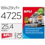 Etiqueta adhesivas Apli 10198 tamaño 25,4x10 mm removible caja 25 hojas