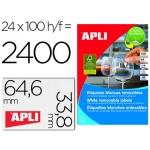 Etiqueta adhesivas Apli 3056 tamaño 64.6x33.8 mm removible caja 25 hojas referencia A-4 removi