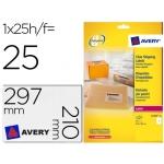 Etiqueta adhesivas Avery tamaño A4 imprimibles transparente 210x297 mm caja de 25 hojas con 25 etiquetas