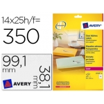 Etiqueta adhesivas Avery tamaño A4 imprimibles transparente 99,1x38,1 mm caja de 25 hojas con 350 etiquetas
