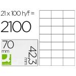 Q-Connect KF10649 - Etiquetas adhesivas, 70 x 42,3 mm, caja de 100 hojas