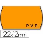 Etiquetas Meto onduladas 22 x 12 mm pvp removible fn fluor color naranja rollo etiquetas