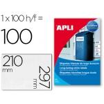 Etiquetas adhesivas Apli 12121 tamaño 210x297 mm poliester resistente a la interperie impresión laser