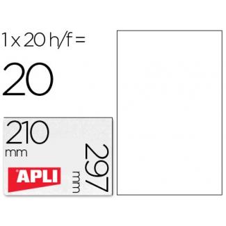Etiquetas adhesivas Apli de poliester resistente a la intemperie para impresora laser 210x297 mm