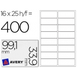 Etiquetas adhesivas Avery tamaño A4 imprimibles transparente 99,1x33,9 mm para laser paquete de 25 hojas