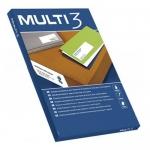 Multi3 10491 - Etiquetas adhesivas, 52,5 x 21,2 mm, caja de 100 hojas