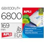 Etiquetas adhesivas apli 01282 tamaño 48,5x169 mm para fotocopiadora laser ink-jet caja de 100 hojas formato A4 6800 etiqu