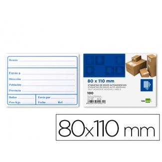 Etiquetas de envio Liderpapel 80x110 mm adhesiva paquete de 100