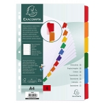 Exacompta 2306E - Separador de cartulina, A4, 6 pestañas, color blanco con pestañas de colores
