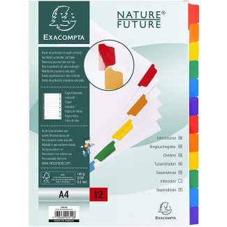 Exacompta 2312E - Separador de cartulina, A4, 12 pestañas, color blanco con pestañas de colores