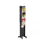 Expositor Fast-PaperFlow de suelo movil tamaño A4 color negro 16 estantes 165x30,2x38,2 cm