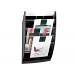 Expositor mural Cep de pared con 5 compartimentos transparente y negro 580x122x350 mm