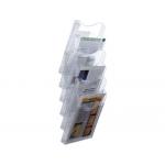 Expositor mural archivo de pared 6 bandejas tamaño A4 transparente 155x239x665 mm separadores moviles ajustables