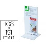 Expositor de sobremesa Q-connect con forma de T de metacrilato tamaño 108x151 mm a dos caras