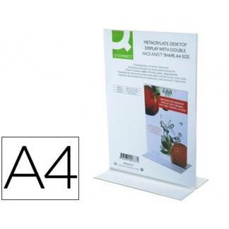 Expositor de sobremesa Q-connect con forma de T de metacrilato tamaño A4 a dos caras