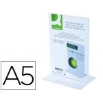 Expositor de sobremesa Q-Connect con forma de T de metacrilato tamaño A5 a dos caras