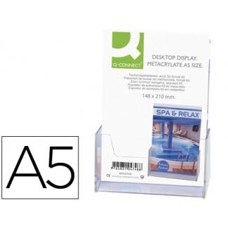 Q-Connect KF04184 - Expositor de sobremesa, metacrilato, tamaño A5