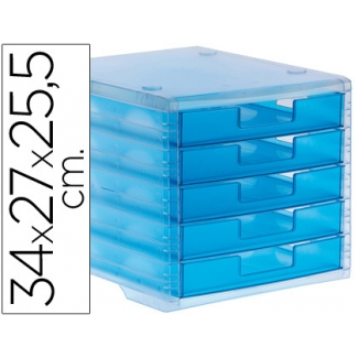 Q-Connect KF18421 - Fichero de sobremesa, 5 cajones, color azul mar translúcido