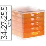 Fichero cajones de sobremesa Liderpapel apilables 5 cajones color naranja mandarina translúcido