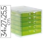 Fichero cajones de sobremesa Liderpapel apilables 5 cajones color verde kiwi translúcido