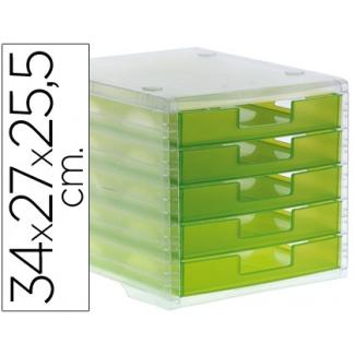 Q-Connect KF18423 - Fichero de sobremesa, 5 cajones, color kiwi translúcido