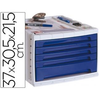 Liderpapel FM07 - Fichero de sobremesa, bandeja organizadora superior, 5 cajones, color azul opaco