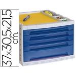 Liderpapel FM05 - Fichero de sobremesa, bandeja organizadora superior, 5 cajones, color azul translúcido
