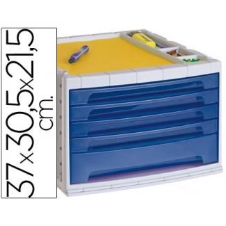 Opina sobre Liderpapel FM05 - Fichero de sobremesa, bandeja organizadora superior, 5 cajones, color azul translúcido