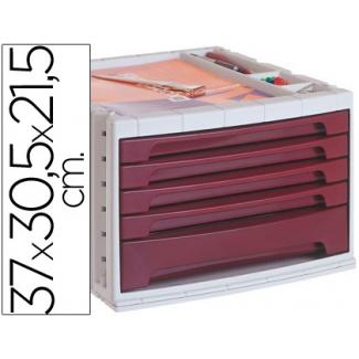 Liderpapel FM06 - Fichero de sobremesa, bandeja organizadora superior, 5 cajones, color burdeos opaco