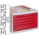 Fichero cajones de sobremesa Liderpapel bandeja organizadora superior 5 cajones color rojo translúcido
