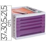 Fichero cajones de sobremesa Liderpapel bandeja organizadora superior 5 cajones color violeta translúcido