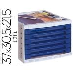 Fichero cajones de sobremesa Liderpapel bandeja organizadora superior 6 cajones color azul opaco