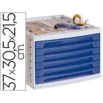 Fichero cajones de sobremesa Liderpapel bandeja organizadora superior 6 cajones color azul translúcido