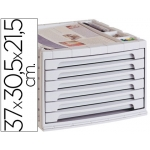 Liderpapel FM14 - Fichero de sobremesa, bandeja organizadora superior, 6 cajones, color gris opaco
