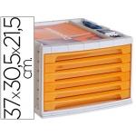 Liderpapel FM15 - Fichero de sobremesa, bandeja organizadora superior, 6 cajones, color naranja translúcido