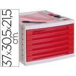 Fichero cajones de sobremesa Liderpapel bandeja organizadora superior 6 cajones color rojo translúcido