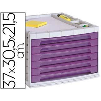 Liderpapel FM17 - Fichero de sobremesa, bandeja organizadora superior, 6 cajones, color violeta translúcido