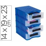 Fichero cajones de sobremesa Offisys 4 cajones verticales color azul frosty/transparente
