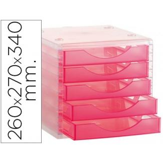 Q-Connect KF18413 - Fichero de sobremesa, apilable, 5 cajones, color rosa translúcido