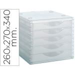 Archivo 2000 4005CSTL - Fichero de sobremesa, apilable, 5 cajones, color transparente translúcido