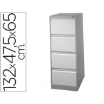 Fichero cajones de suelo metal 4 cajones-bicolor 132 cm alto 65 cm prof 47,5ancho color guias telesc antivuelc