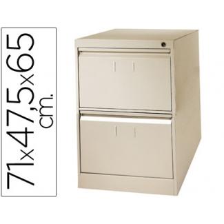 Fichero cajones de suelo metálico de 2 cajones 71 cm alto,65 cm prof,47,5 anchocolor color beige Nº 34 antivuelco