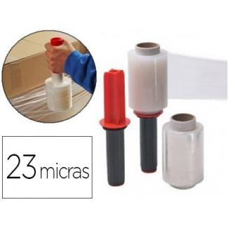 Liderpapel - Film extensible manual, con aplicador, 10 cm de ancho x 150 mt de largo, 23 micras, transparente