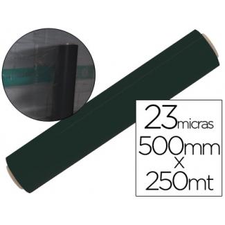 Liderpapel PLA0023022NE - Film extensible manual, 50 cm de ancho x 250 mt de largo, 23 micras, negro
