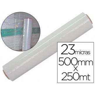 Liderpapel PLA0023022TR - Film extensible manual, 50 cm de ancho x 250 mt de largo, 23 micras, transparente
