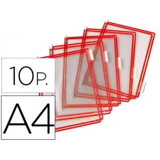 Funda para portacatalogo Tarifold tamaño A4 color rojo pack de 10 unidades