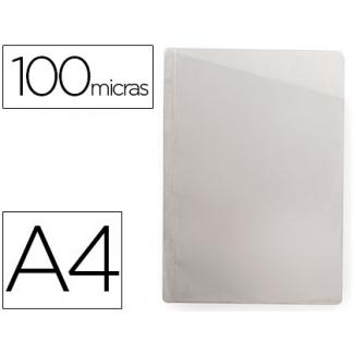 Funda protectora corte oblicuo tamaño A4 sin taladros pvc 100 micras caja de 100 fundas