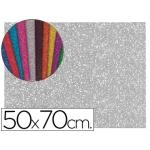 Goma eva con purpurina Liderpapel 50x70 cm 60 gr/m2 espesor 2 mm color plata