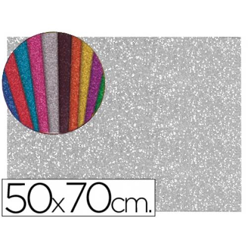 9f68e125e56 Goma eva con purpurina Liderpapel 50x70 cm 60 gr m2 espesor 2 mm color plata